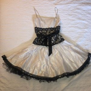 Jeasica McClintock black and cream lace dress